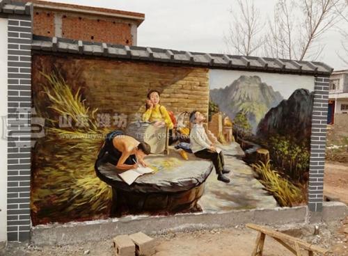 临沂红石文化墙手绘壁画